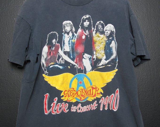 Aerosmith Skid Row Live in Concert 1990 vintage Tshirt