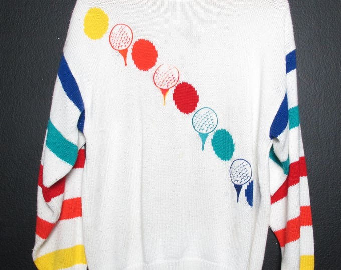 Striped Golf Balls 1990's Vintage Sweater