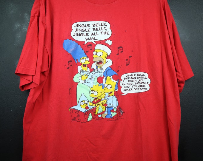 The Simpsons Family Jingle Bells 1990s vintage Tshirt Bart Homer Lisa Maggie Marge