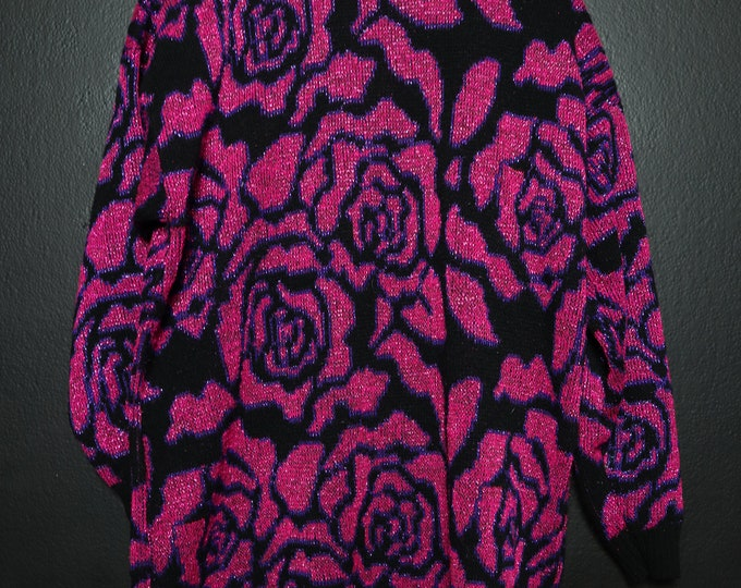 Pink Roses 1990's vintage Sweater