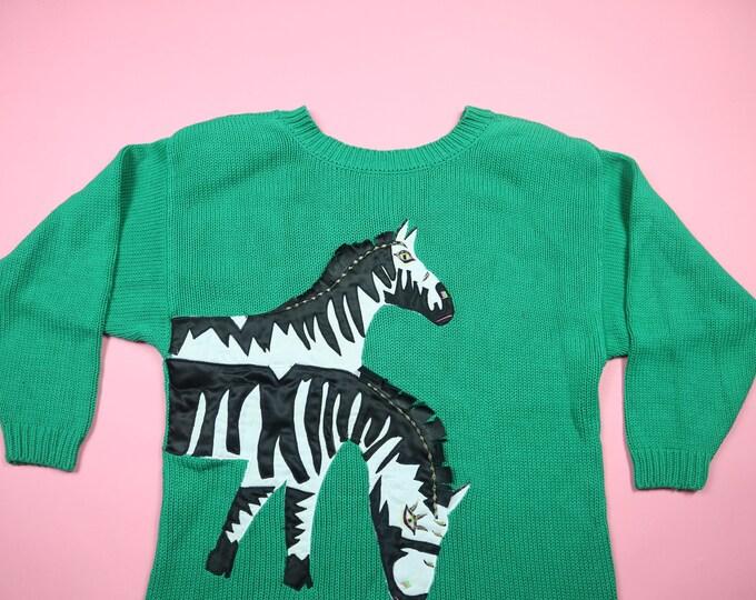 Green Zebra V back Vintage Knit Sweater
