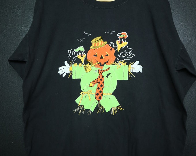 Halloween Scarecrow Pumpkin 1990s vintage Tshirt