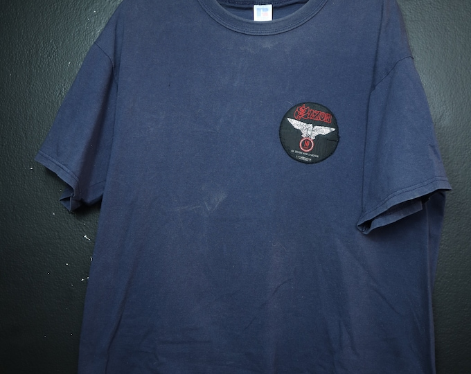 Saxon 10 Years of Denim & Leather 1990 Vintage Tshirt