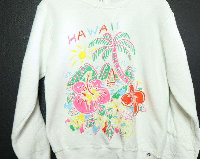 Hawaii floral puff print 1990's Vintage Sweatshirt