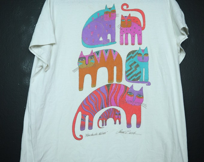 Fantastic Felines Laurel Burch Cats 1990's vintage Tshirt