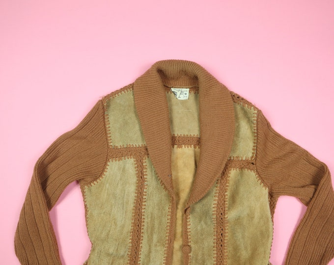 Acrylic Knit Hippie 1970's Vintage Sweater Jacket