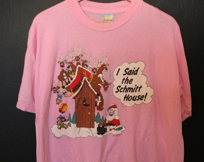 Novelty Santa Christmas Cartoon 1990's vintage Tshirt