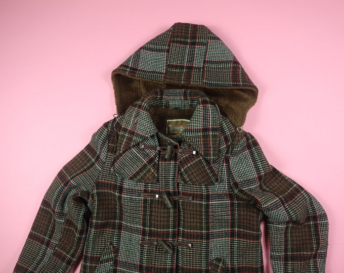 Brown Red Houndstooth Warm Heavy Winter 1970s Vintage Hooded Cacket