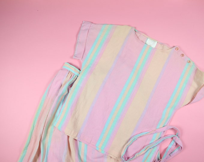 Country Casual Pastel Stripes 2 Pieces 1990's Vintage Skirt/Top