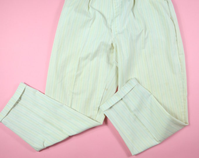 Ms. Players Ivory Pink Blue Striped 1980s Vintage Pants