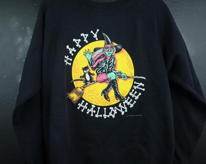 Happy Halloween Witch & Black Cat 1992 vintage Halloween Sweatshirt