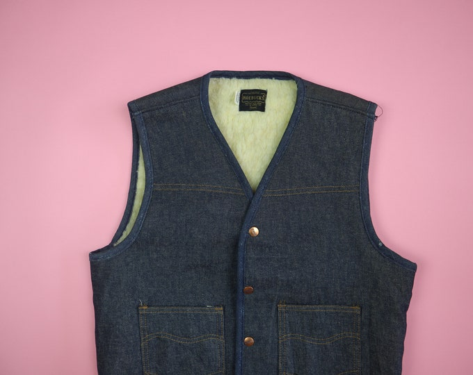 Roebucks Sears 1970's Vintage Denim Vest