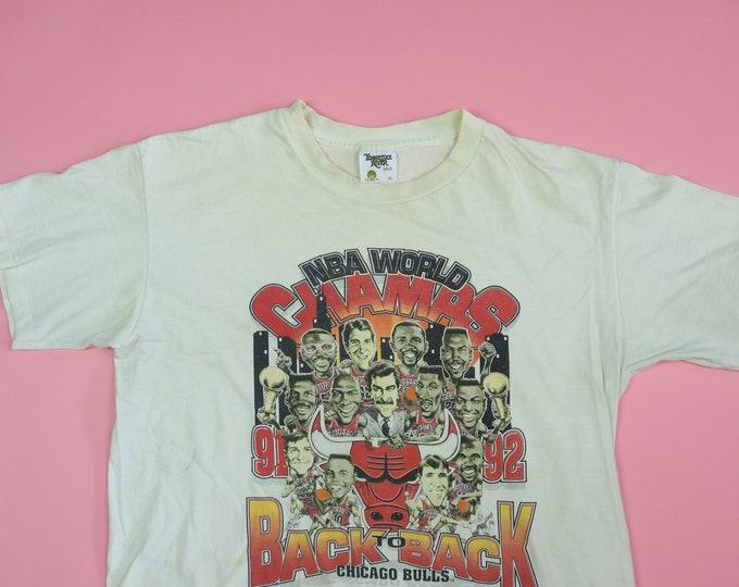 Chicago Bulls Back to Back World Champs NBA 1990s vintage Big Head Tshirt
