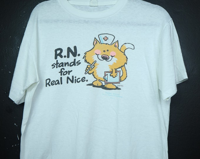 R.N. Stands for REAL NICE nurse vintage Tshirt
