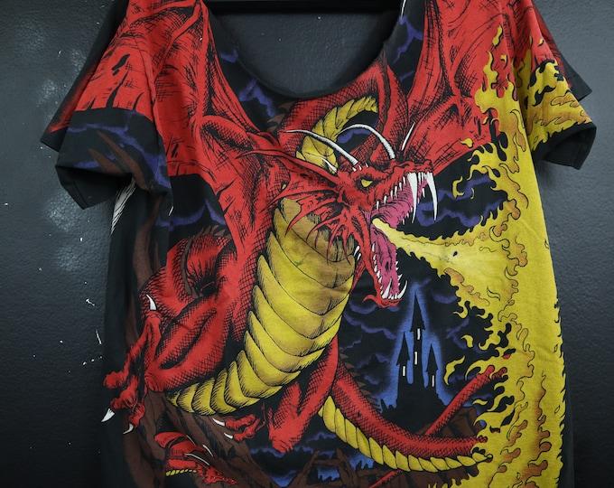 All Over Print Dragon Knight 1993 Vintage Tshirt