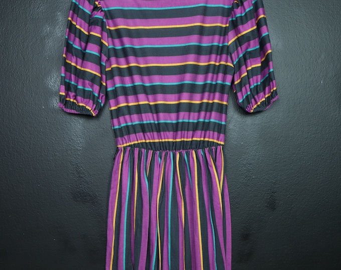 Macy's Striped Purple 1990's vintage Dress