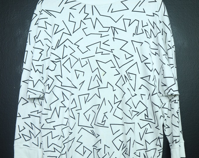 Abstract Lines 1990's Vintage Long Sleeve Shirt