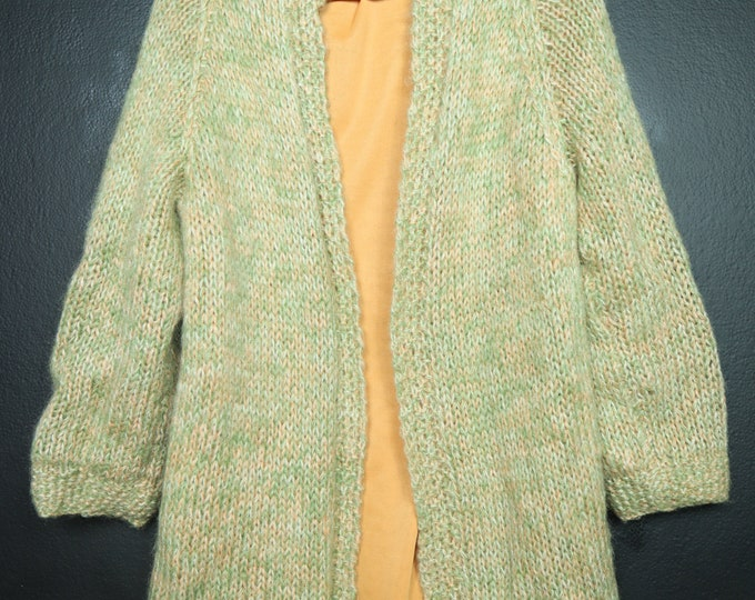 Green Peach Cardigan Handmade Vintage Knit Sweater