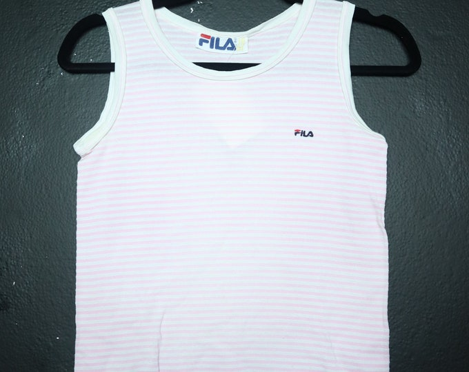 Pink Stripes Fila 1980's Vintage Tank Top