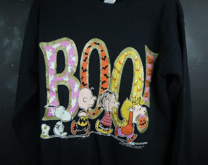 BOO Halloween vintage Peanuts sweatshirt Snoopy Charlie Brown
