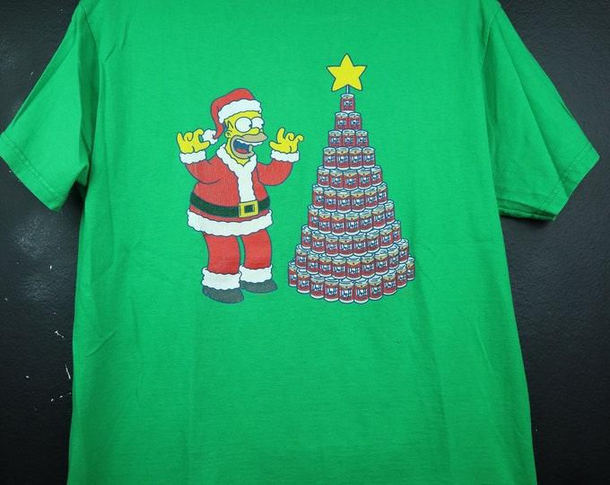 The Simpsons Homer Claus & Duff Beer Tree 1990s vintage Tshirt