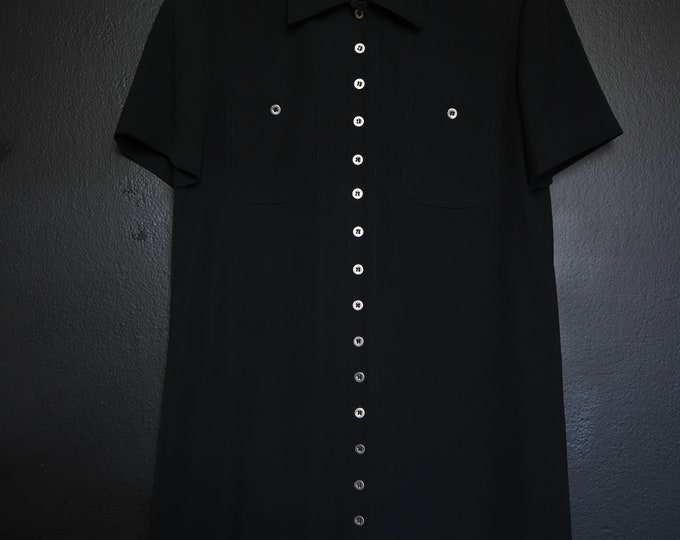 Black button front Jones New York vintage dress