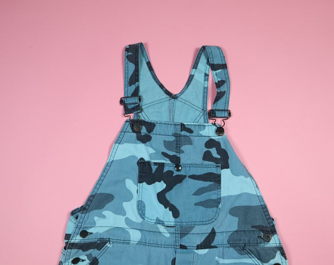 Blue Camo Camouflage 1990s Vintage Short Overalls