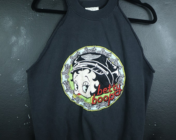 Betty Boop Motocycle 1990's Vintage Cut Off Sweater