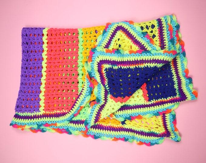 Handmade Afghan Crochet Crocheted Bright Colorful Neon Vintage Blanket