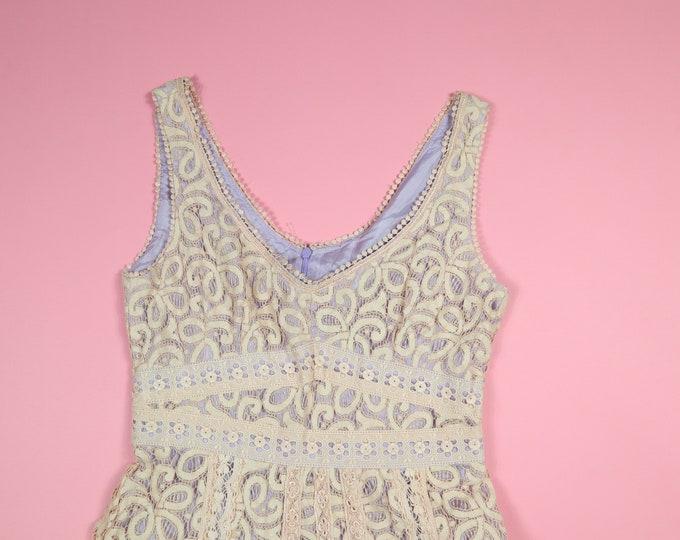 Pink Purple Floral Lace Vintage Dress