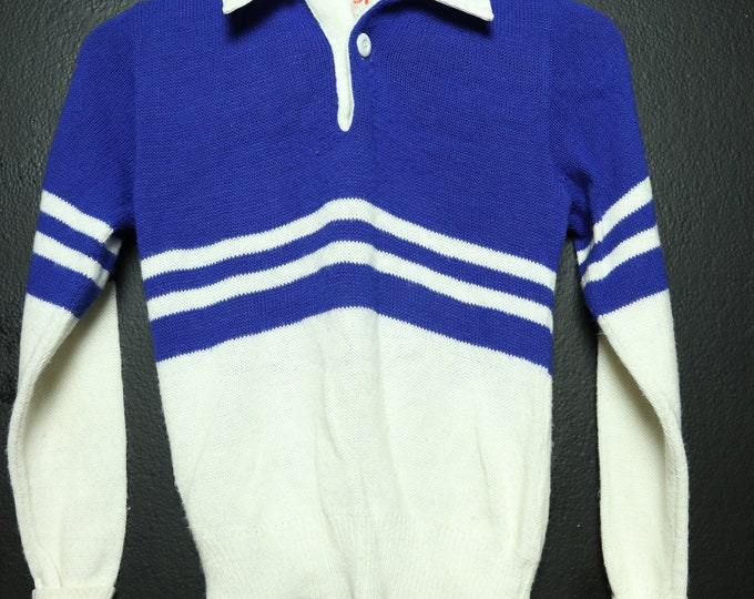 Blue & White collared Rugby brand Vintage Sweater SM patch
