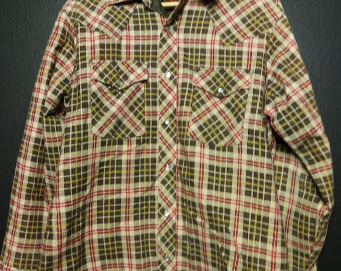 Vintage Quilted Flannel Plaid Western Shirt