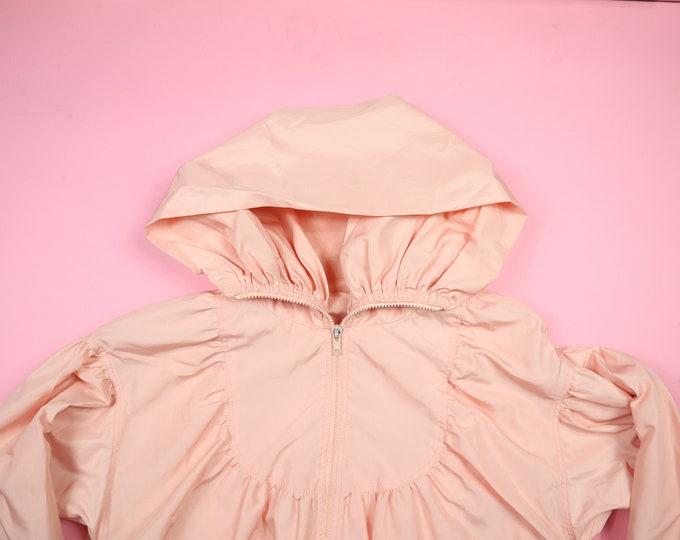 Peach Pink High Collar Zipper Hooded Vintage Jacket