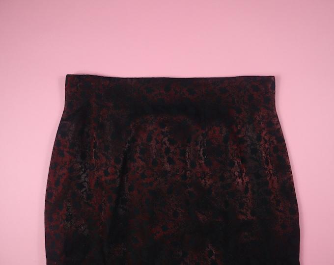 Dark Flowers Goth Silky Y2K Vintage Skirt