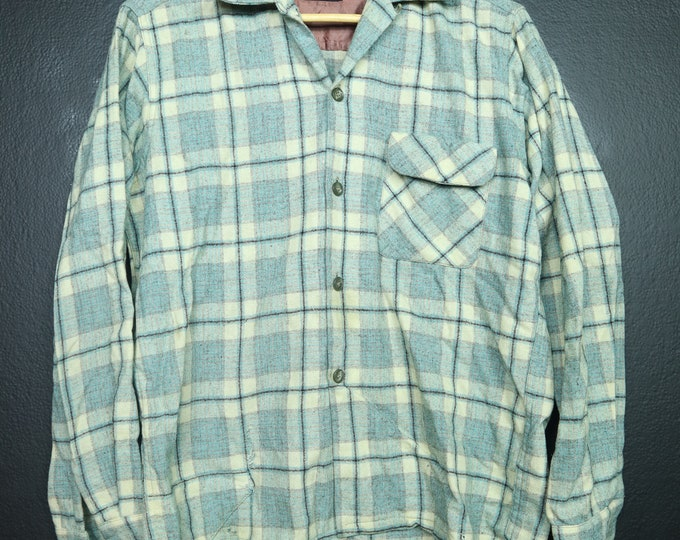 Wool O The West Plaid Vintage Button Up Shirt