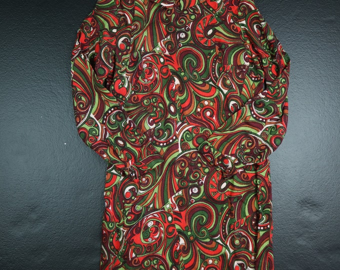 Hippie Psychedelic Handmade 1970's Vintage Dress