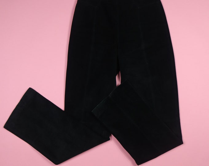 Michael Hoban North Beach Leather Black Suede High Waist Vintage Pants