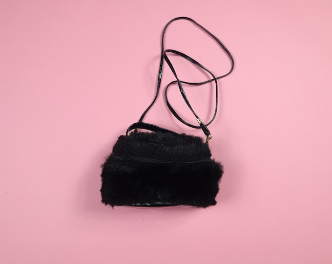 Black Fur Vintage Crossbody Handbag Purse