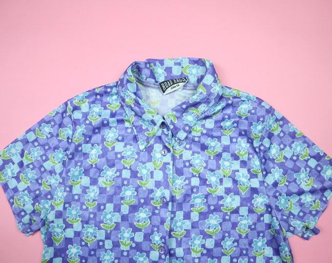 Purple Turquoise Flowers 1990's Y2K Vintage Button Up Shirt