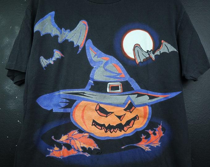 Bats & Spooky Pumpkin 1990s vintage Halloween Tshirt