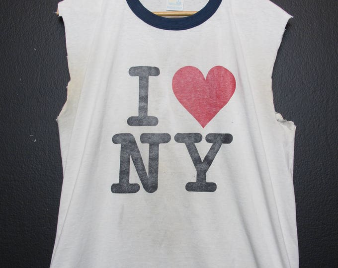 I Love New York City  1990's vintage Cut Off Tshirt