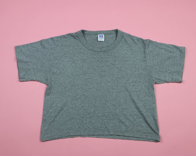 Russell Athletic Heather Gray Vintage 1980s Crop Tshirt
