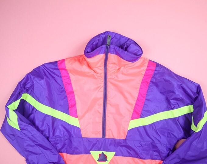 Alpine Design Neon Purple Pink Green Vintage Windbreaker Jacket