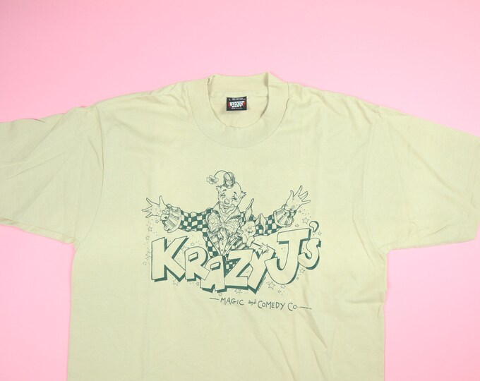 Krazy J's Magic and Comedy Company 1990s vintage Clown Tshirt Screen Stars