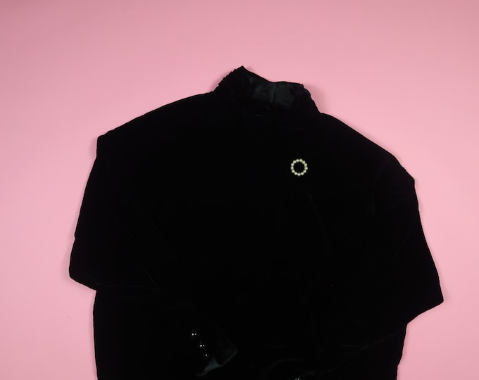 Liz Claiborne 1980's High Collar Vintage Velvet Dress