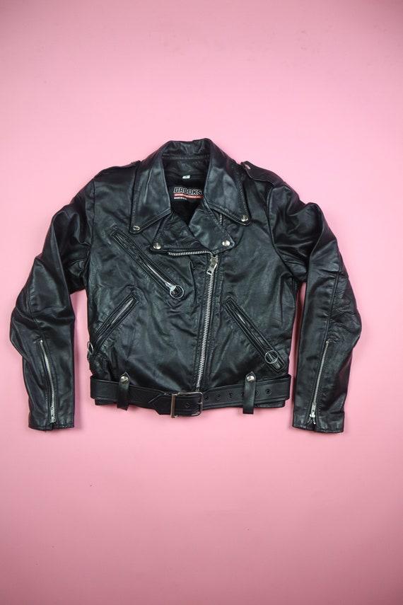Brooks 1980s Vintage Motorcycle Leather Jacket