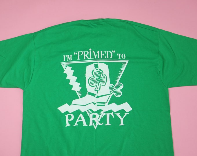 I'm Primed to Party St Patrick's Day 1990's Vintage Tshirt