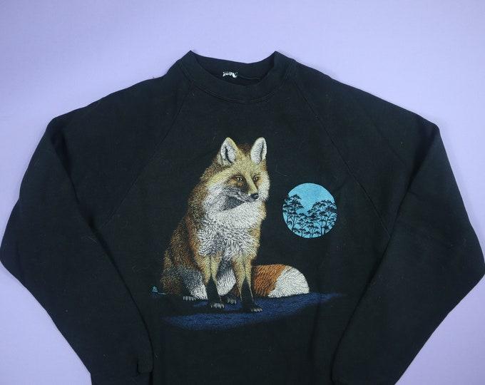 Fox and Moon Cute Animal 1990's Vintage Raglan Sweatshirt