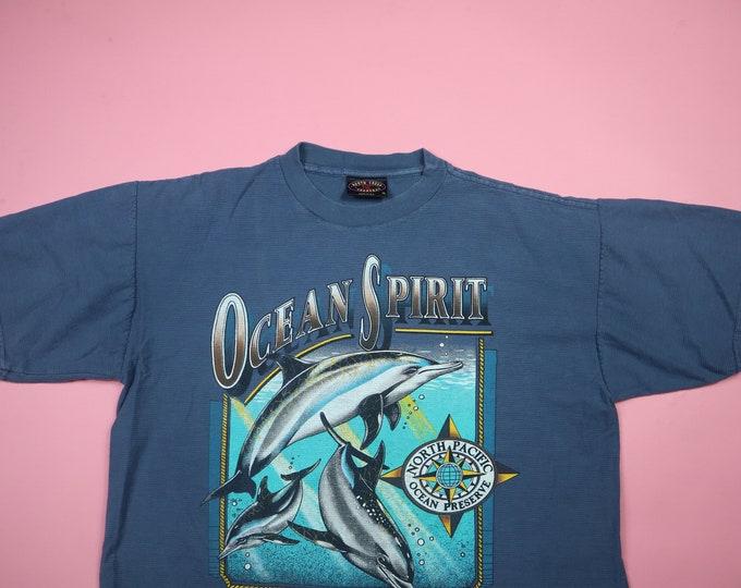 Ocean Spirit Conserve Protect Respect 1990's Vintage Tshirt