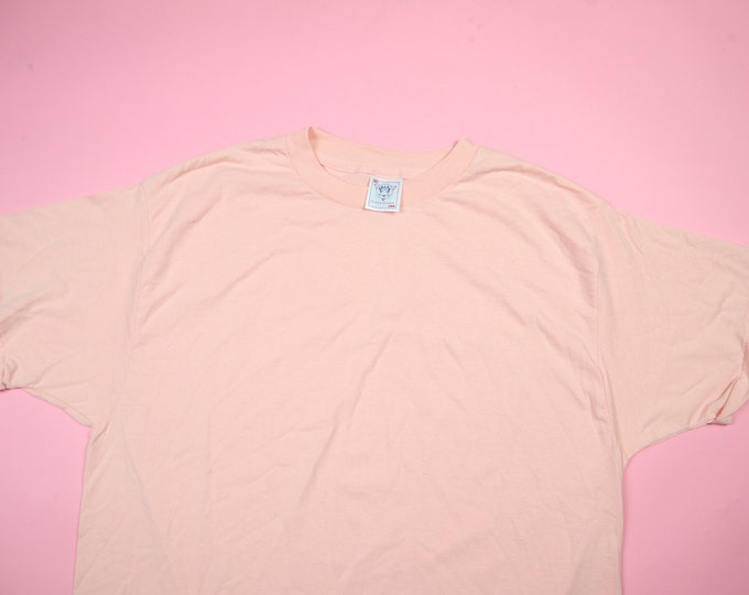 Blank Salmon Pink 1980's Vintage Tshirt